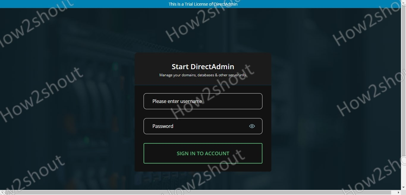 DirectAdmin Web Interface