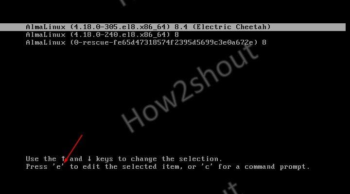 Edit Boot Menu Alma or Rocky Linux