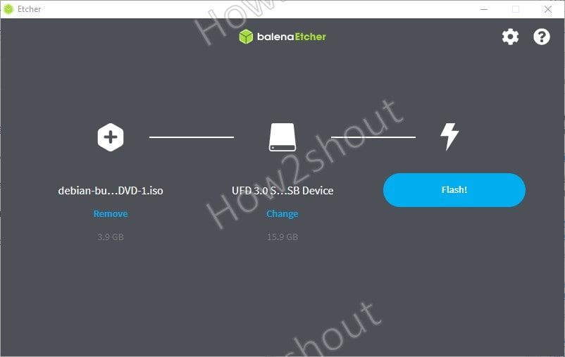 Make Debian 11 bootable flash drive using Etcher