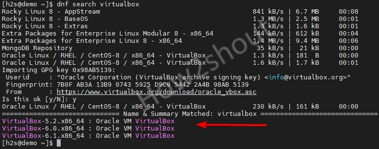 Search for VirtualBox version on Rocky Linux 8