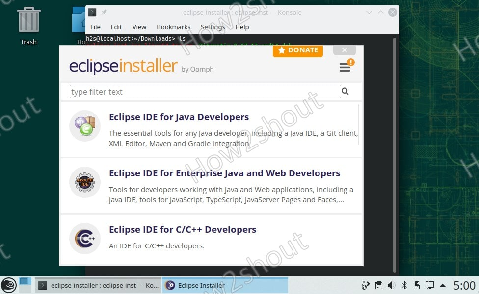 Select the IDE platform of Eclipse you want to install