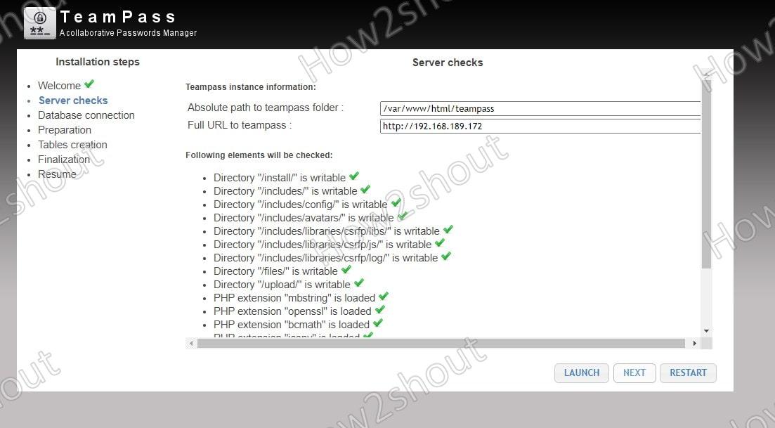 Server Check for Teampass