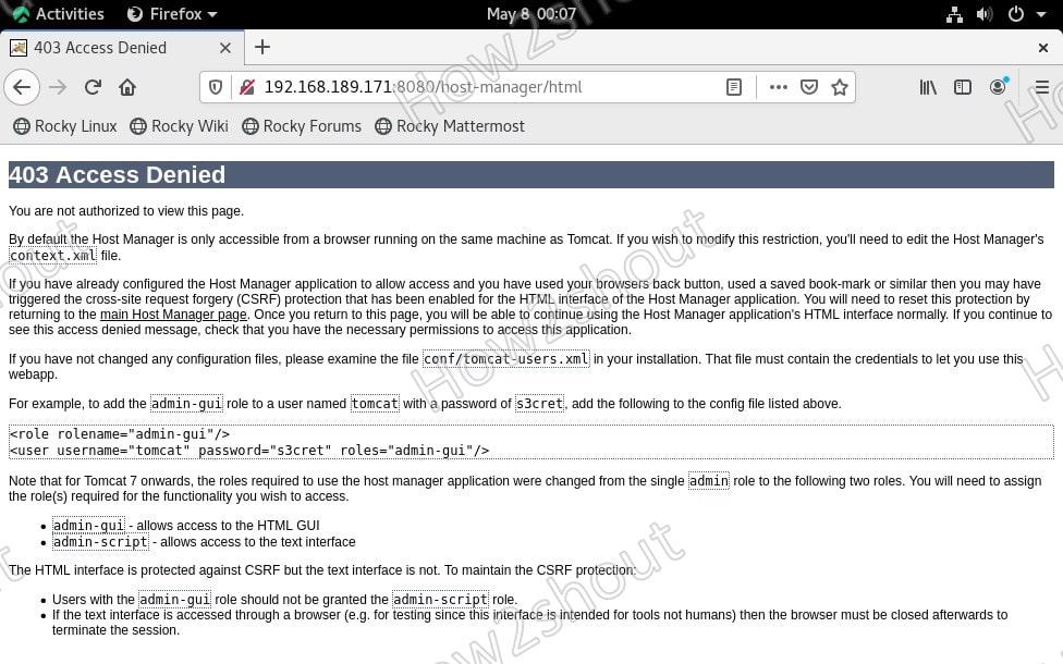 Tomcat 403 Access denied error solution