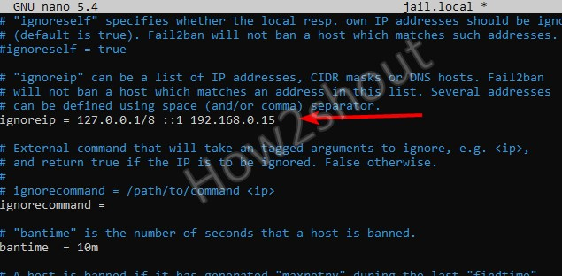Whitelist IP address in fail2ban