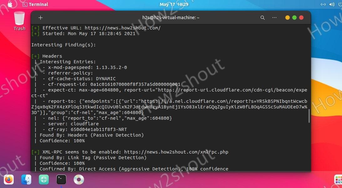 Wpscan Ubuntu Linux command for WordPress website