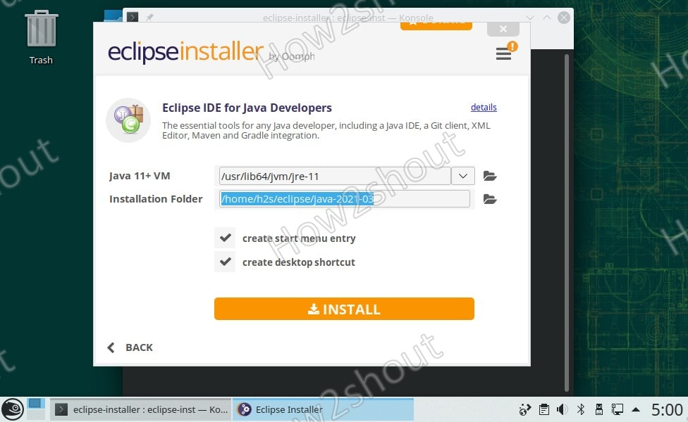 Example- Click on Install button to setup eclipse IDE for Java Developers