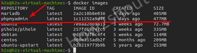 find the downloaded docker image name
