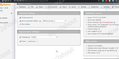 phpMyadmin installation of Docker container