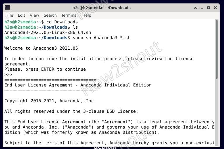 Anaconda install script on Debian 11