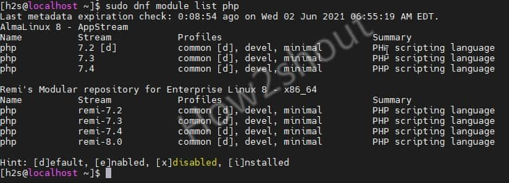 Check available php module in REMI repo on AlamLinux