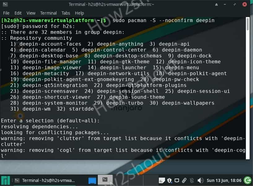 Command to install Deepin GUI on Manjaro