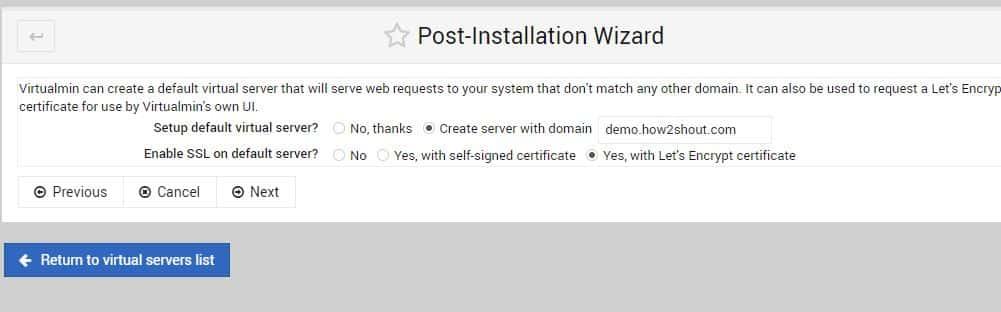 Create Server virtualmin min