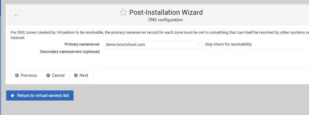 DNS configuration virtualmin min