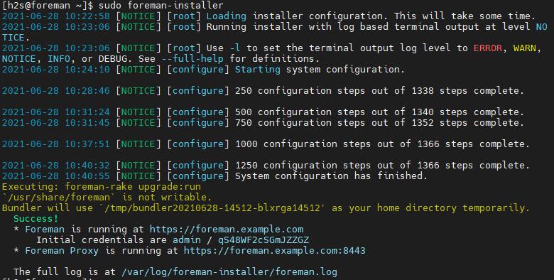 Foreman Web interface access URL