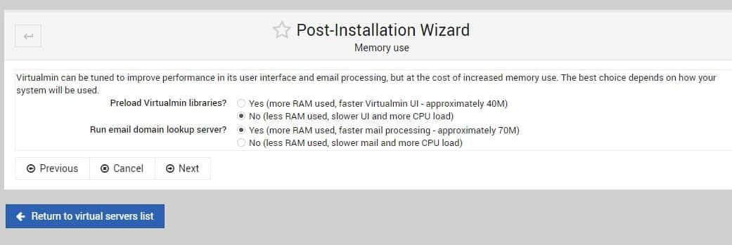 Memory Usage virtualMin min