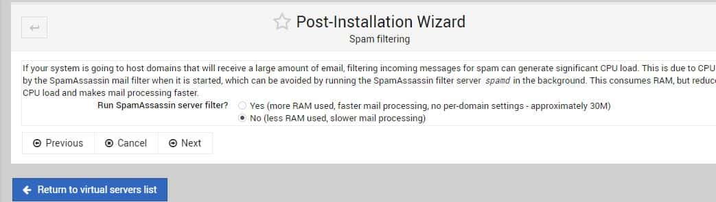 Run SpamAssassin server filter min