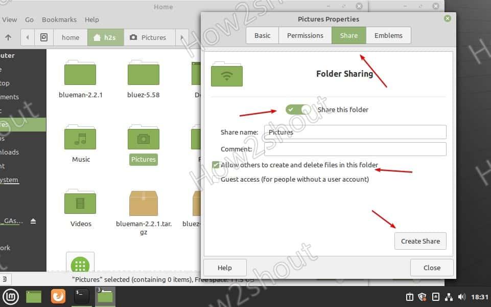 Partager le dossier sur SAMBA sous Linux Mint