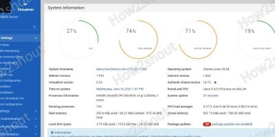 VirtualMin and Webmin Dashboard Ubuntu 20.04 LTS