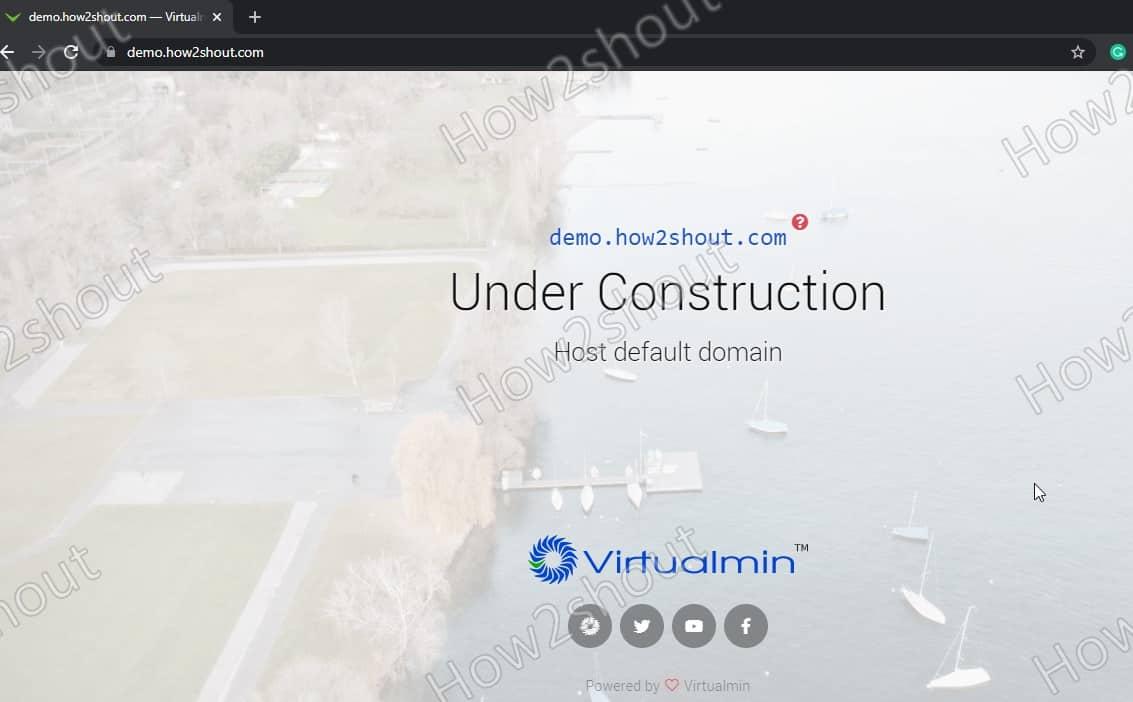 Website under construction on webmin