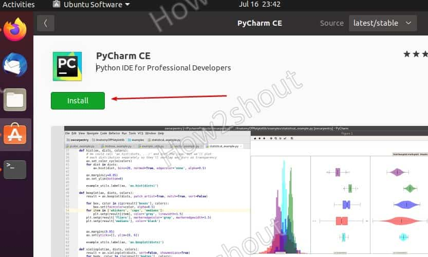 PyCHarm CE install GUI Ubuntu 20.04 SNAP package