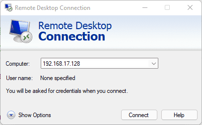 Remote Desktop Connection on Windows to access Linux