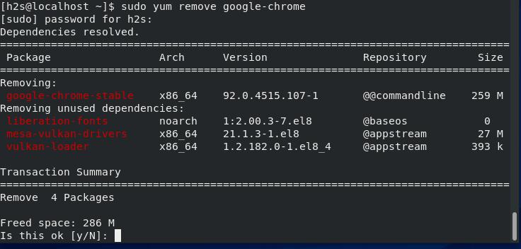 Uninstall Chrome in CentOS 7 or 8 stream