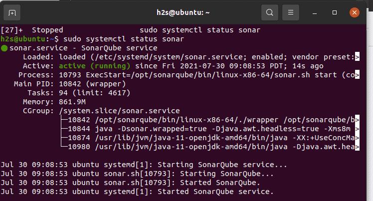 check sonarqube service status on Ubuntu server