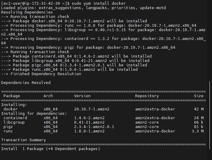 Docker installation command Amazon AWS Ec2 Linux