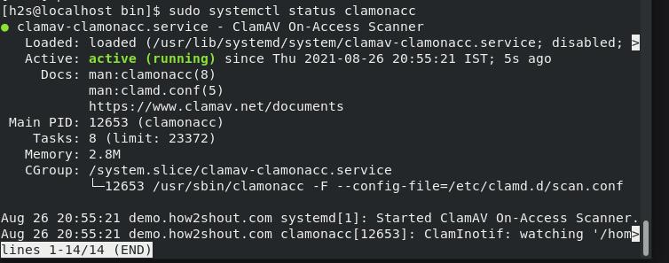 Start and Enable clamonacc service on Rocky Linux