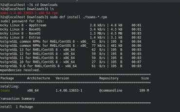 sudo dnf install teams rpm rocky linux 8
