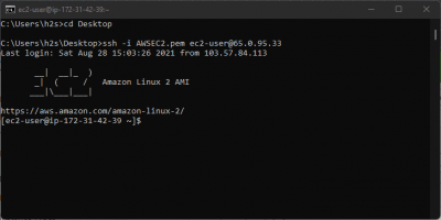 use command prompt to connect ec2 aws over ssh