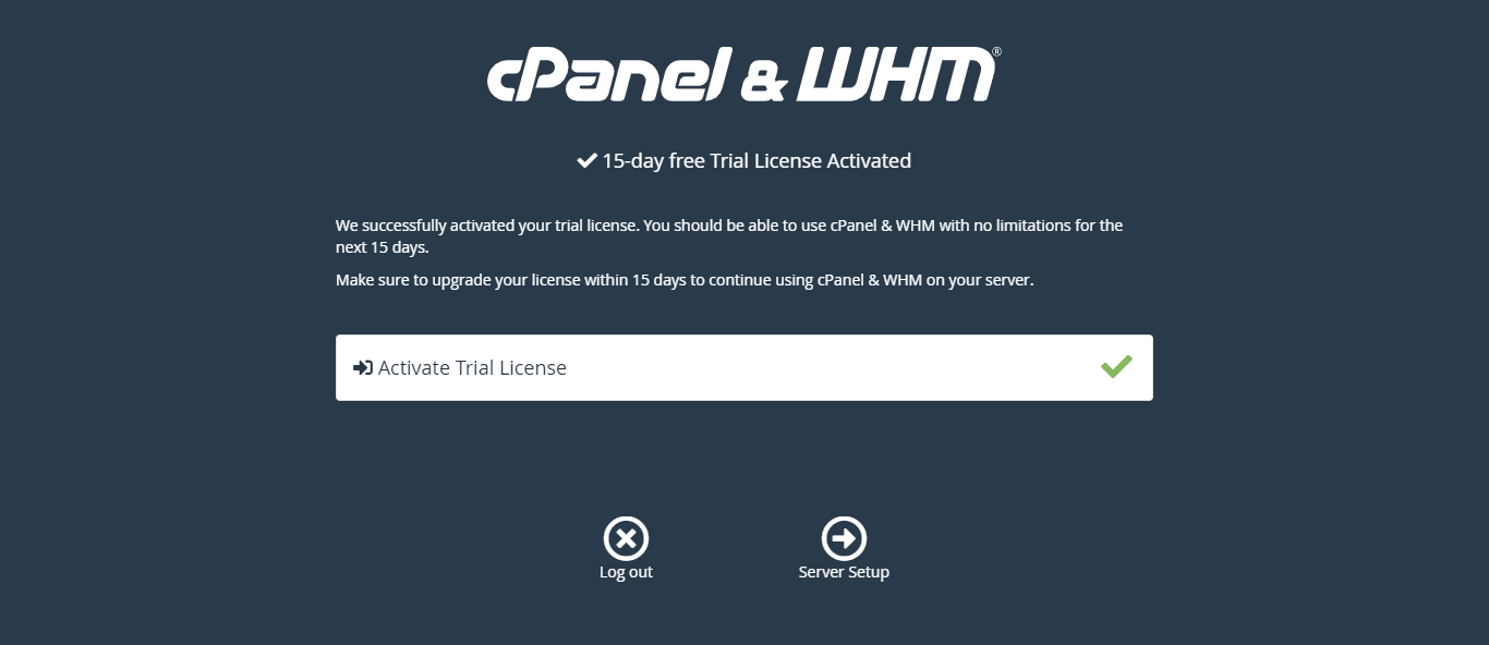 Activate Cpanel trial license