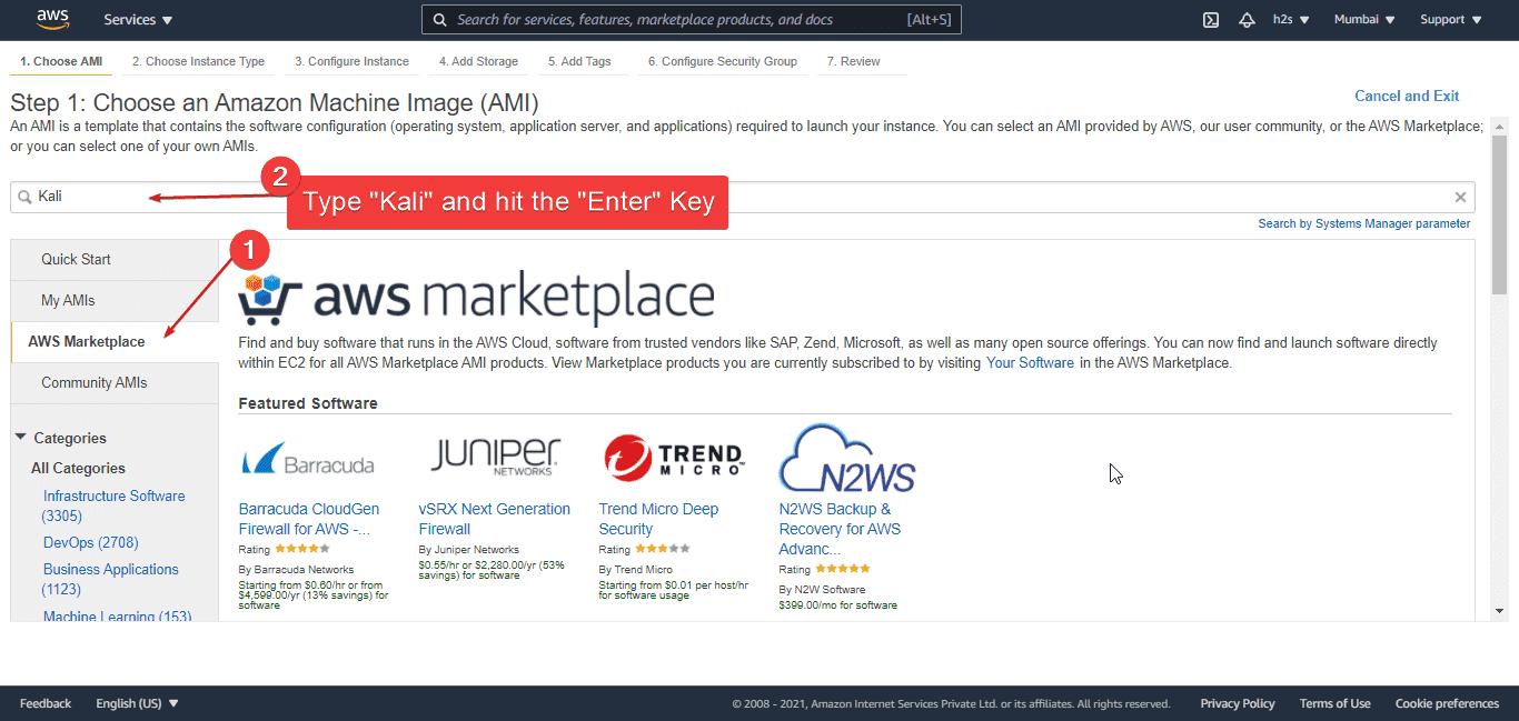 Choose Kali Linux Amazon Machine Image