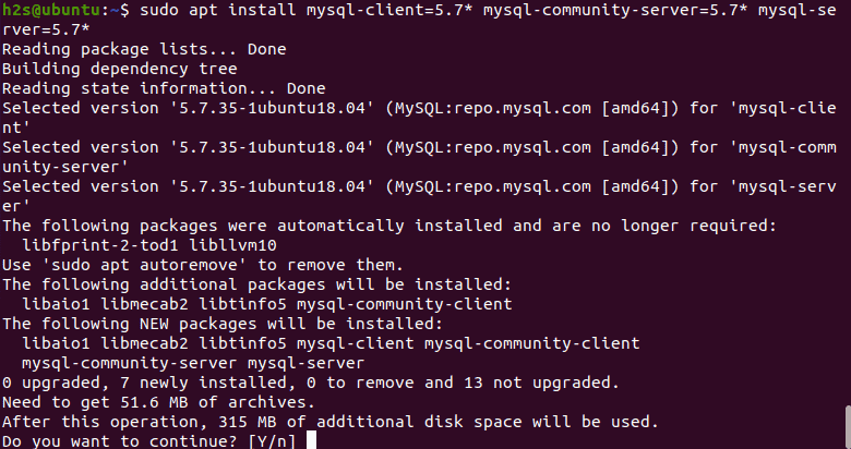 Command to Install MySQL 5.7 on Ubuntu 20.04
