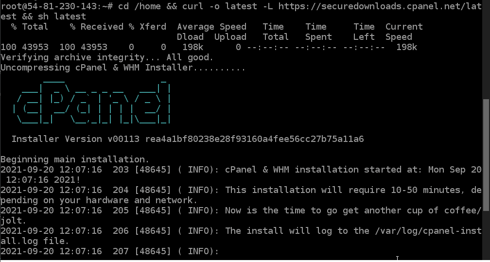 Command to install WHM Cpanel on Ubuntu 20.04 LTS