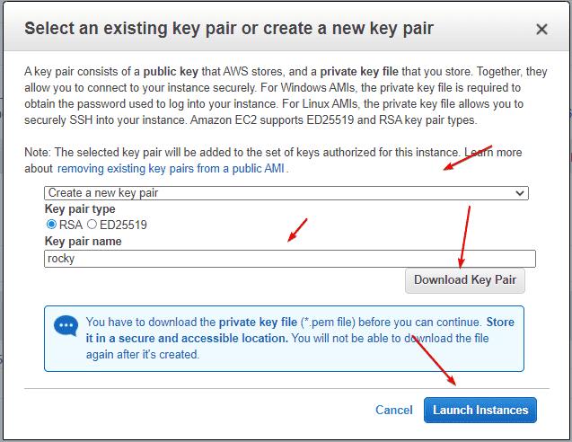 Download SSH Key Pair