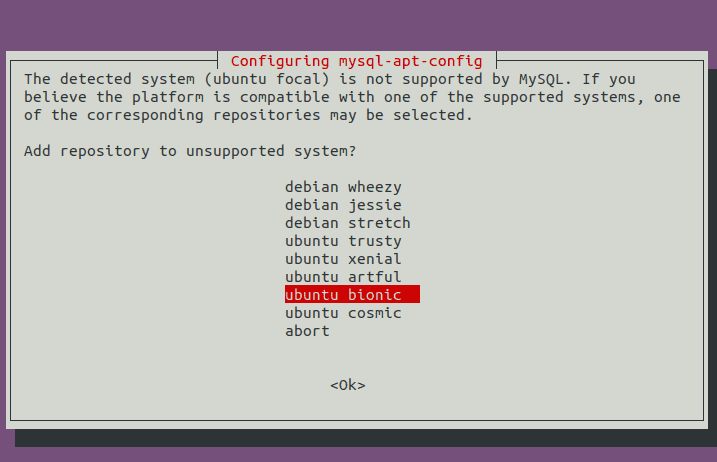 Select Ubuntu 18.04 Bionic Repository
