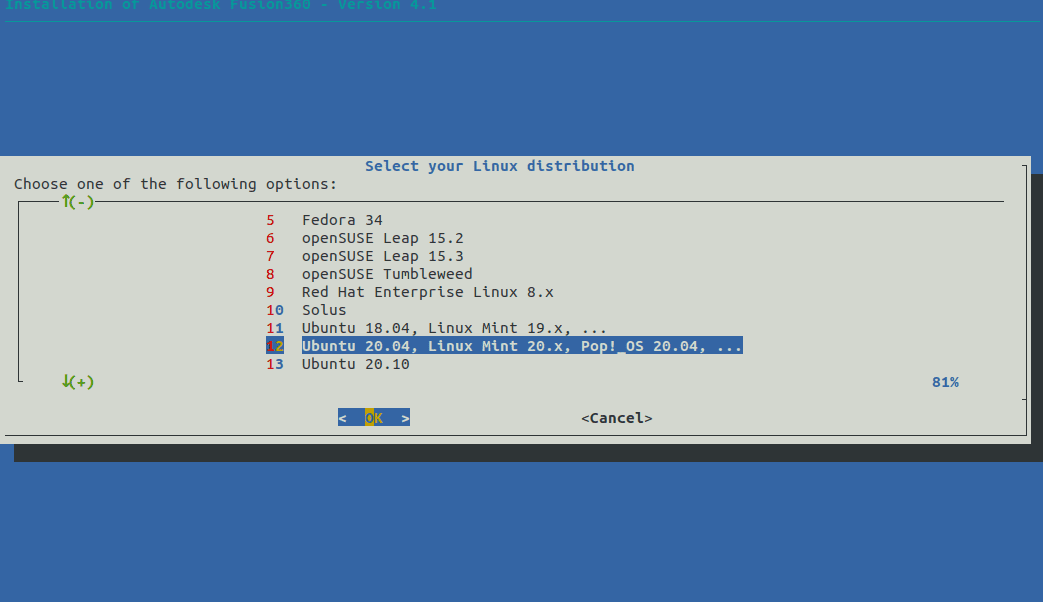 Select Ubuntu 20.04 LTS Linux to install Fusion 360