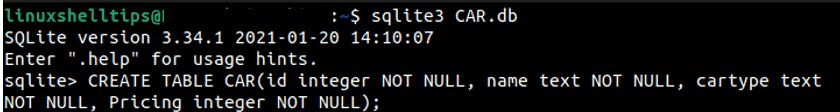 Create SQlite Database on Ubuntu min