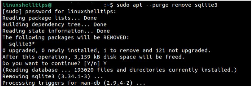 Uninstall SQLite On Ubuntu 20.04 min