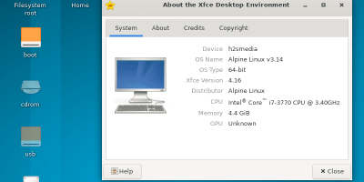 XFCE graphical user interface on Alpine Linux