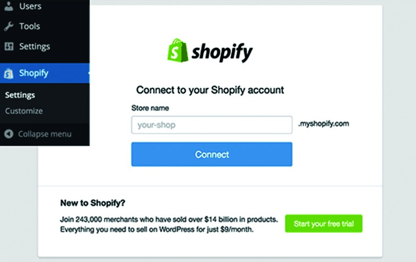 Connect to your shopify Account
