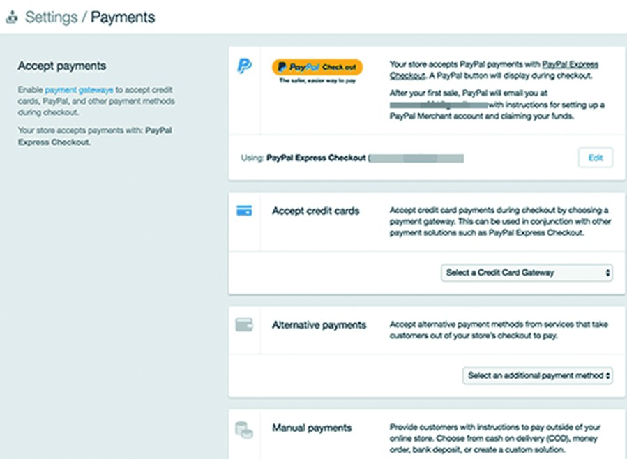 Shopify's payment setup page