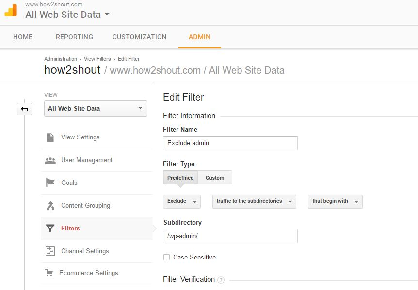 Google Analytics WordPress admin