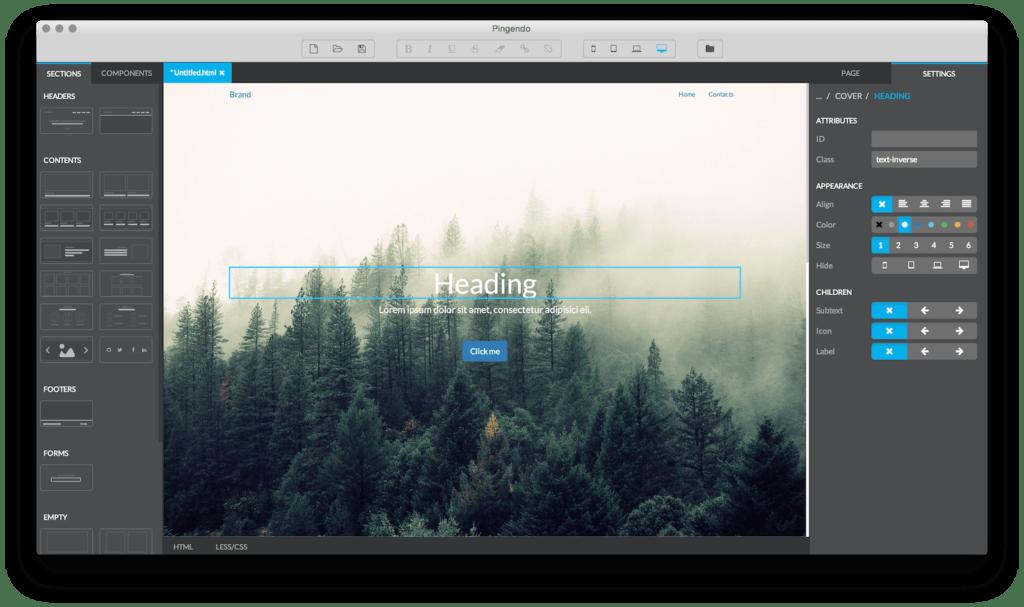 pingendo Twitter Bootstrap 3 Theme Generator
