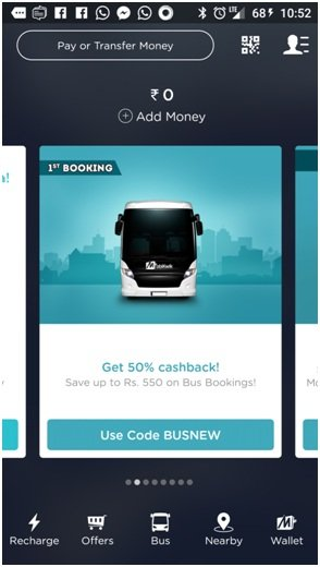 Mobikwik Wallet Bus ticket book online