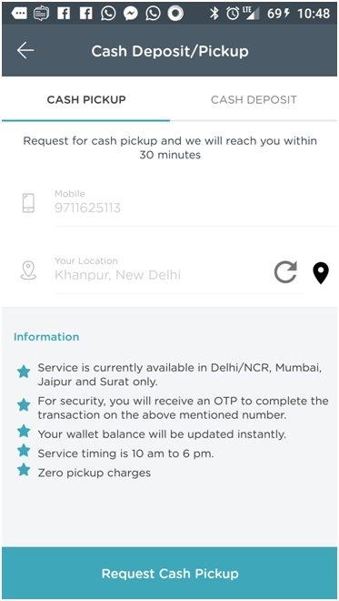 Mobikwik app cash deposit-pickup