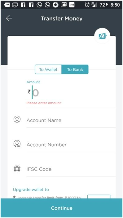 Mobikwik wallet transfer money
