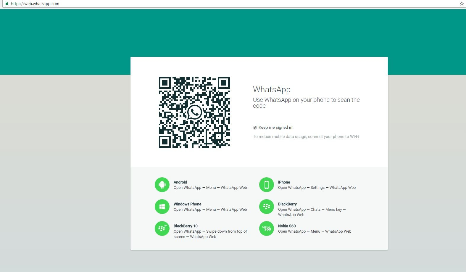 Whatsapp web login QR  barcode for desktop