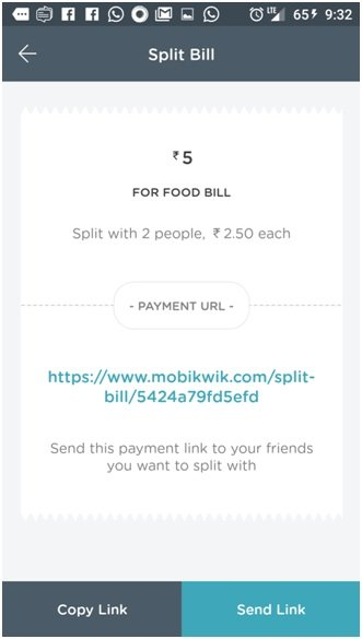 Mobikwik Wallet sPLIT BILL